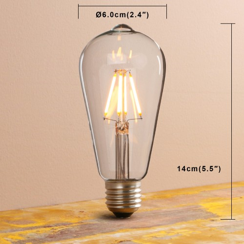 Light Lamps: Vintage/Retro Filament Dimmable E27 ST64 LED Edison Bulb