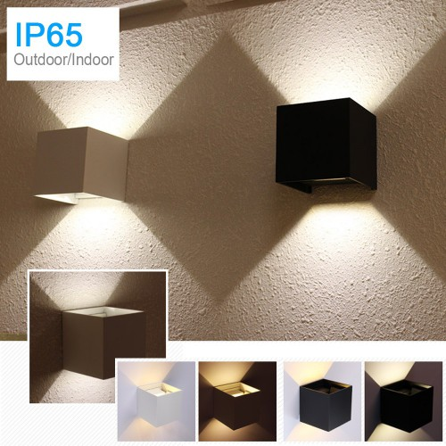 IP65 Waterproof Outdoor Wall Lamp Cube Sconce Black White 20W LED Wall Lighting