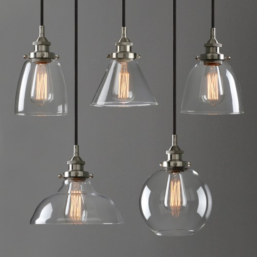 Retro Industrial Lamp Silver Brushed Ceiling Pendant Light Clear Glass