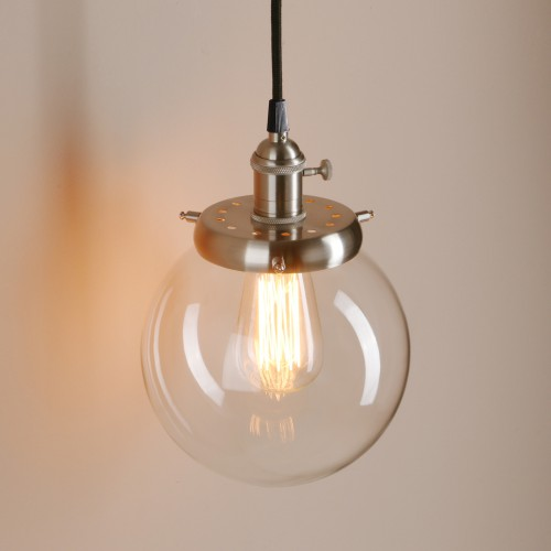 Glass Globe Pendant Light Nz Large Uk Clear Fixtures: Vintage Rustic Round Globe Clear Glass Shade Pendant Light
