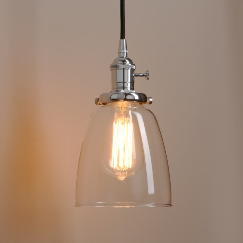 Vintage Clear Glass Bell Shade Pendant Ceiling Light in Chrome