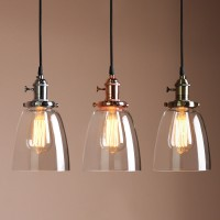 Vintage Bell Shade Clear Glass  Pendant Ceiling Light