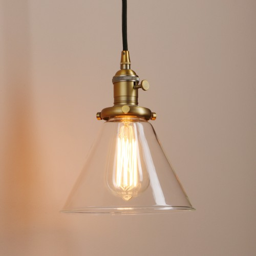 Funnel Shaped Clear Glass Shade Hanging Retro Pendant Light