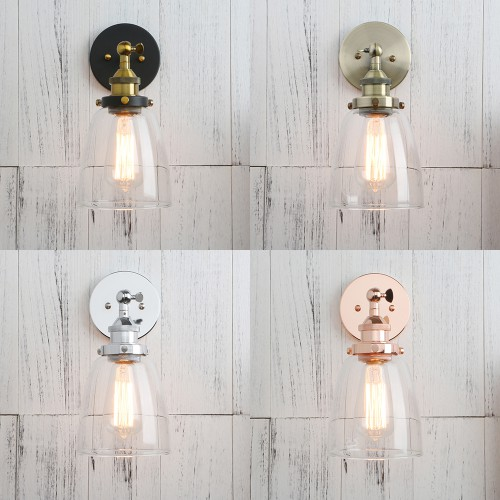 Industrial vintage clear glass shade bell sconce wall light mozeypictures Images