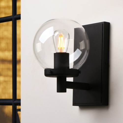 Retro Industrial Globe Clear Glass LampShade Wall Sconce Light Home Deco Fixture