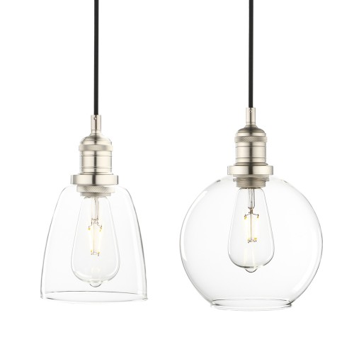 Retro Industrial Clear Glass LampShade Silver Brushed Loft Ceiling Pendant Light