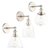 Retro Industrial Clear Glass Lampshade Rustic Sconce Silver Brushed Wall Light