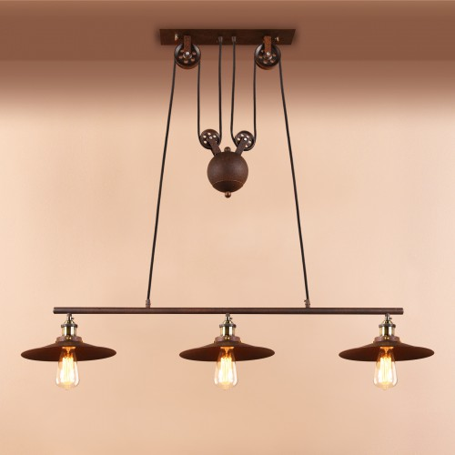 Vintage Industrial Retractable Imitation Rust Chandelier Pendant Light