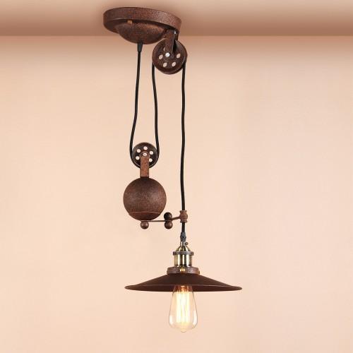 Industrial retractable imitation rust chandelier pendant light vintage industrial retractable imitation rust chandelier pendant light mozeypictures Choice Image