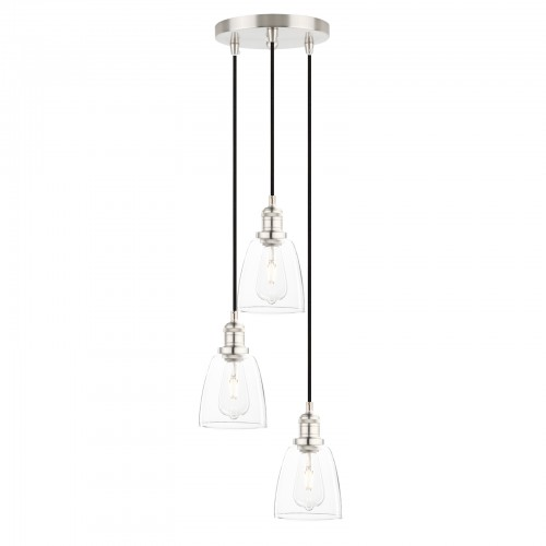 Chic Cluster 3 Retro Silver Brushed Pendant Light Clear Glass Shade Ceiling Lamp