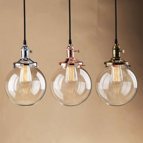 "7.9"" Sphere Glass Shade Vintage Industrial Decor Ceiling Pendant Lamp"