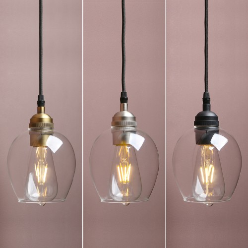 "5.3"" Vintage Industrial Clear Wine Cup Glass Lamp Shade Ceiling Pendant Light"