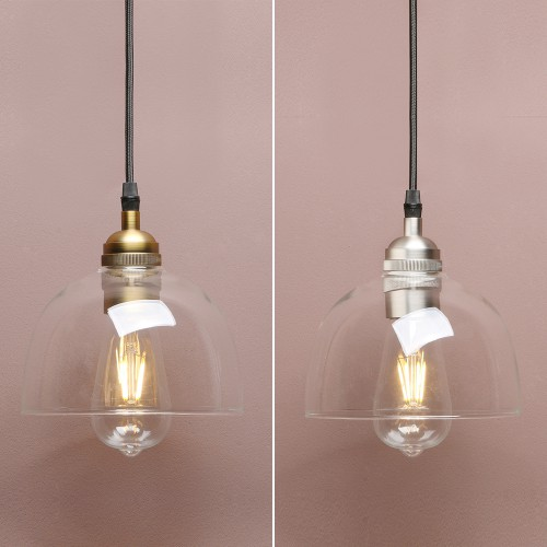 "6.9"" VINTAGE INDUSTRIAL CLEAR GLASS BOWL LAMP SHADE CEILING PENDANT LIGHT"