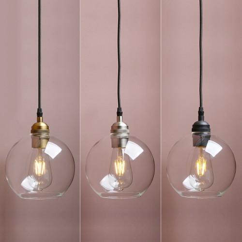 "6.9"" Vintage Industrial Loft Clear Globe Glass Lamp Shade Ceiling Pendant Light"