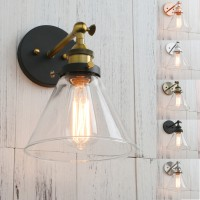 Antique Black Bracket Funnel Glass Shade Retro Wall Sconce
