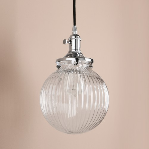 Vintage Industrial Style Stripe Glass Globe Lampshade