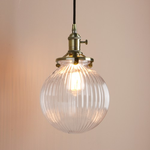 Vintage Industrial Style Stripe Glass Globe Lampshade Pendant Light