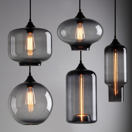 Pathson Industrial Lamp Black Grey Glass Shade Cafe Loft Ceiling Pendant Light