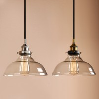 "9.8""Clear Glass Edison Retro Industrial Pendant Light Loft Ceiling Lamp"