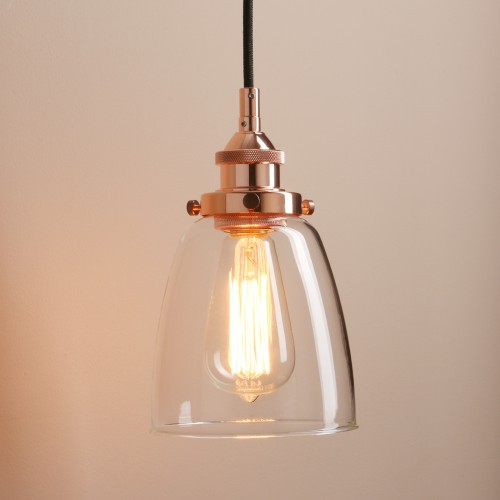 Retro Vintage Cloche Glass Shade Chandelier Copper Pendant Light