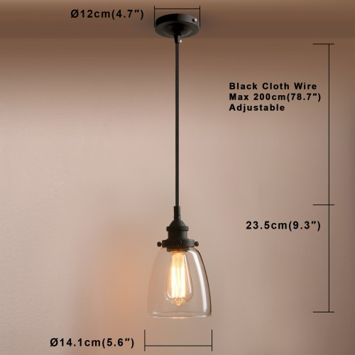 Retro Vintage Cloche Glass Shade Chandelier Copper Holder Pendant Light