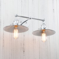 Vintage Industrial Metal Double Arm Wall Lamp Rustic Antique Sconce
