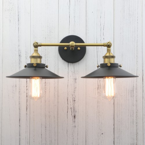 Vintage Industrial Metal Double Arm Wall Lamp Rustic Antique Brass Sconce