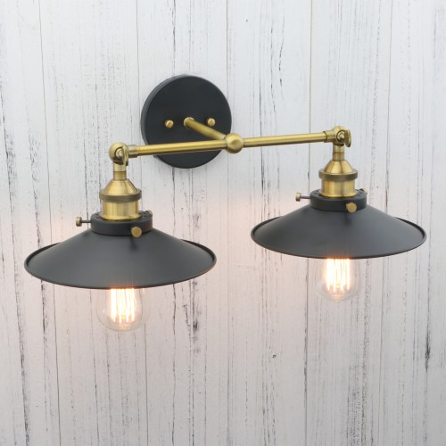 on sale 2696b c37ad Vintage Industrial Metal Double Arm Wall Lamp Rustic Antique Brass Sconce