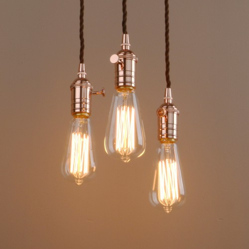 Industrial Vintage Cluster 3 Lights Fitting Pendant Light Metal