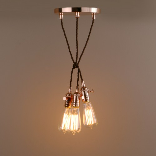 Industrial Vintage Cluster 3 Lights Fitting Pendant Light Metal
