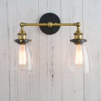 "14.5"" Cloche Glass Vintage Industrial Double Arm Rustic Sconce Wall Light"