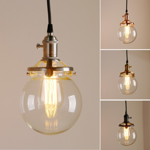 "5.9"" Globe Shaped Clear Glass Shade Hanging Retro Pendant Light"