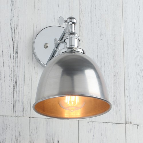 Retro Style Iron Loft Cafe Rustic Chrome Wall Light