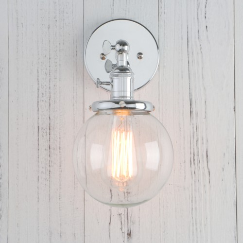 Industrial vintage clear glass ball shade wall light mozeypictures Image collections