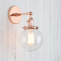 Industrial Vintage Clear Glass Ball Shade Wall Light