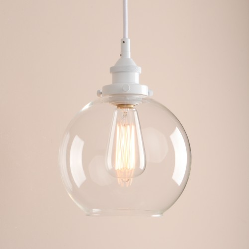 Retro Vintage Clear Glass White Loft Ceiling Pendant Light
