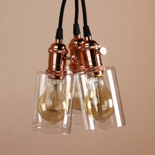 Cluster 3 Bottle Glass Shade Retro Copper Chandelier