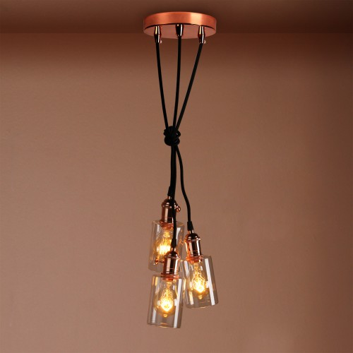 Cluster 3 Bottle Glass Shade Retro Copper Chandelier Pendant Light