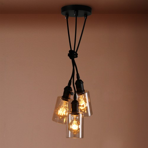 Cluster 3 Bottle Glass Shade Retro Chandelier Pendant Light