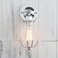 Retro Industrial Rustic Chrome Iron Cage Wall Light Sconce