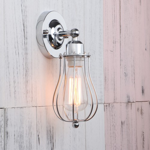Industrial Wall Light Chrome: Retro Industrial Rustic Chrome Iron Cage Wall Light Sconce
