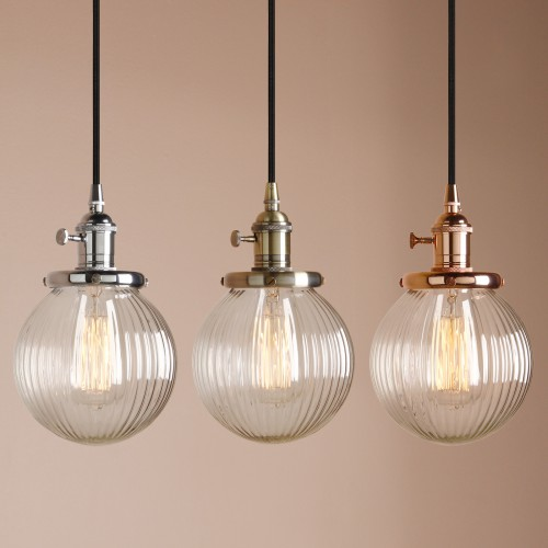 "5.9"" Globe Striped Shaped Clear Glass Shade Hanging Retro Pendant Light"