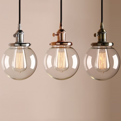 "Retro 5.9"" Globe Shaped Clear Glass Shade Hanging Pendant Light"