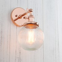 "Retro Industrial Wall Light 5.9"" Fringe Clear Glass Shade Sconce"