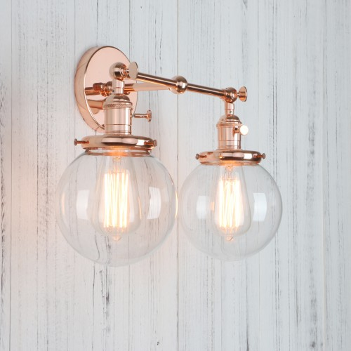 "5.9""Globe Glass Vintage Industrial Loft Double Arm Wall Lamp Lighting Sconce"