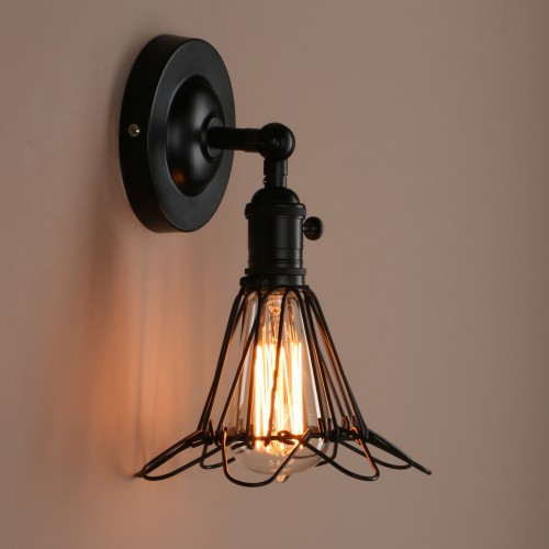Industrial iron bird cage wall light with switch retro industrial iron bird cage wall light with switch aloadofball Images