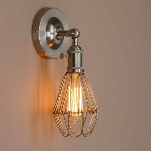 Retro Industrial Iron Bird Cage Wall Light With Switch