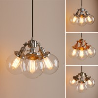 Cluster 3 Edison Retro Industrial Ceiling Pendant Light Clear Globe Glass Lamp