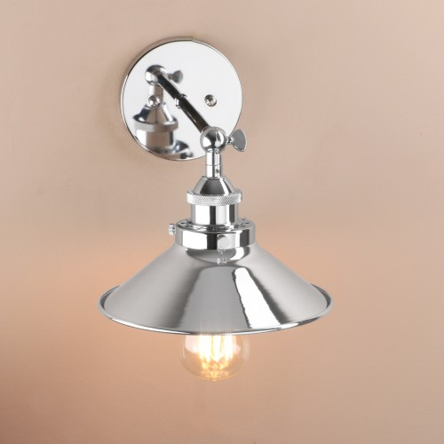 Industrial Wall Light Chrome: Vintage Industrial Style Metal Chrome Finish Wall Sconce