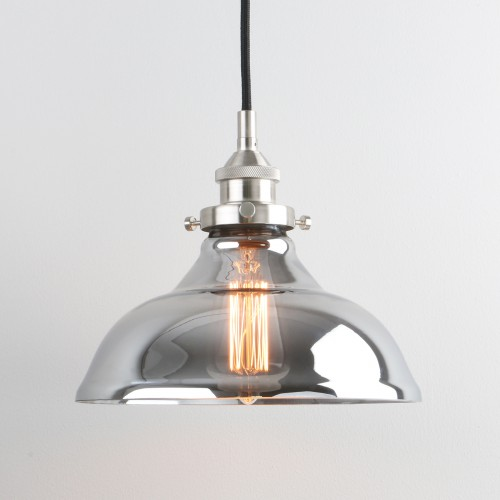 Vintage Industrial Smoky Glass Shade Loft Pendant Light Lamp